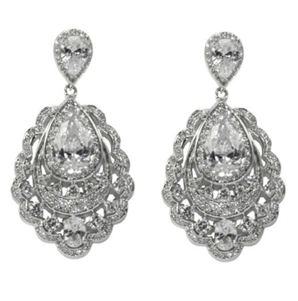 Capelta CZ Pear Cluster Drop Chandelier Earrings | Cubic Zirconia