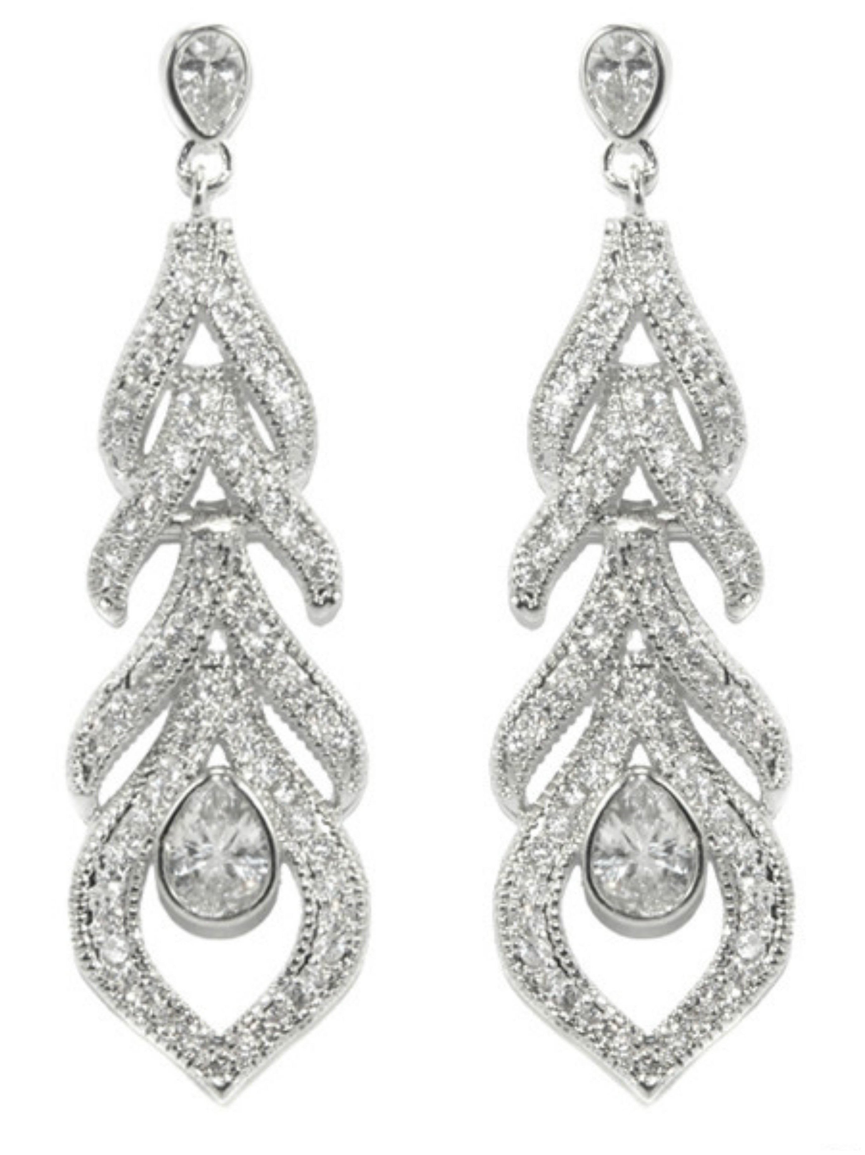 334c3de4a Home > Products > Calliope CZ Feather Dangle Chandelier Earrings | Cubic  Zirconia