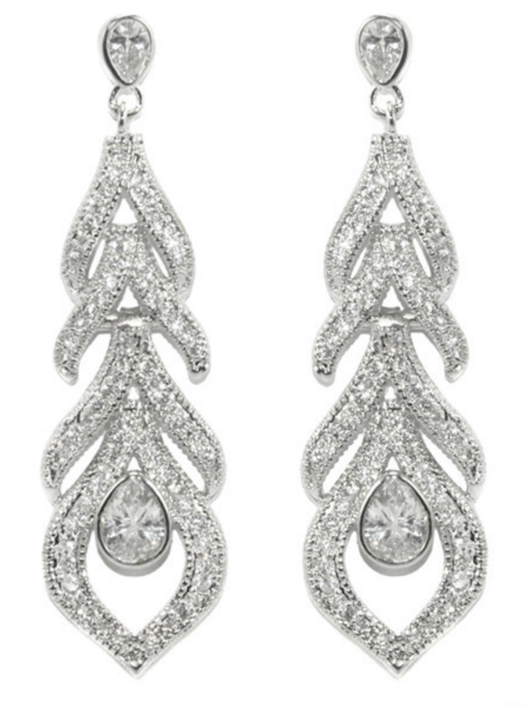 Calliope CZ Feather Dangle Chandelier Earrings | Cubic Zirconia
