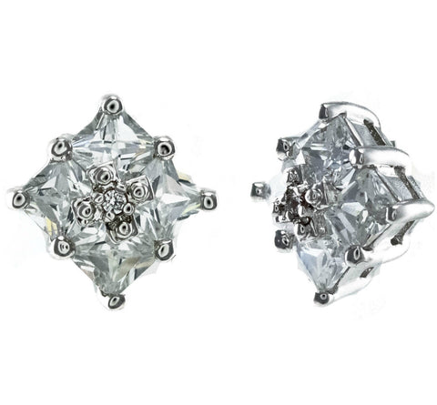 Cami Princess Cluster CZ Stud Earrings | Cubic Zirconia | Silver