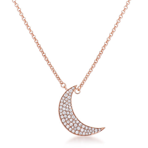 Carlisa To the Moon and Back CZ Rose Gold Necklace