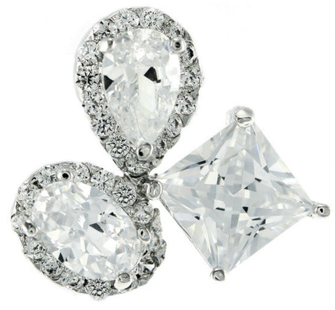 Carlotta Cluster Statement CZ Stud Earrings | Cubic Zirconia | Silver