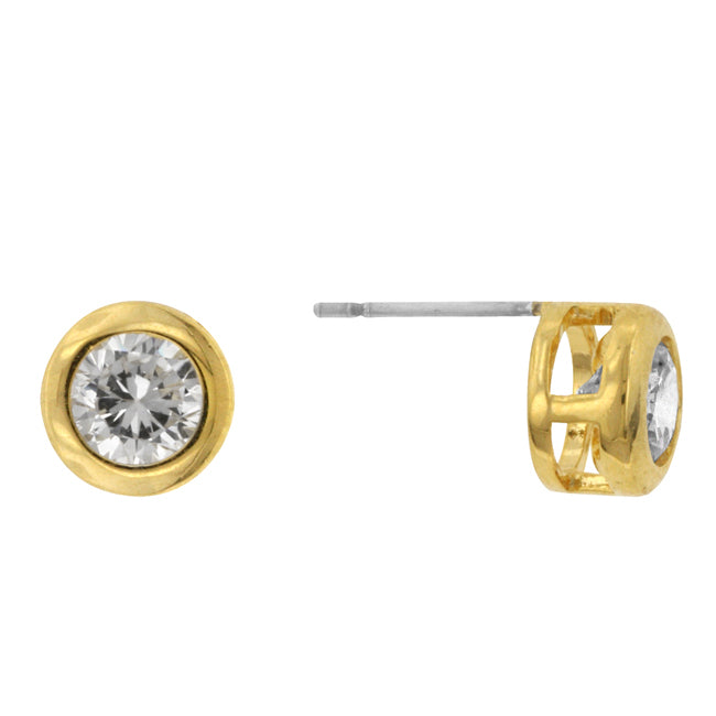 Carol Round Goldtone Bezel Stud Earrings – 5.5mm | 1ct