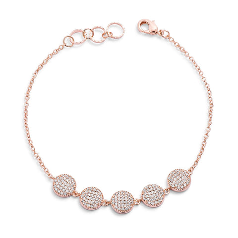 Carol Pave CZ Dome Rose Gold Charm Bracelet - 7in
