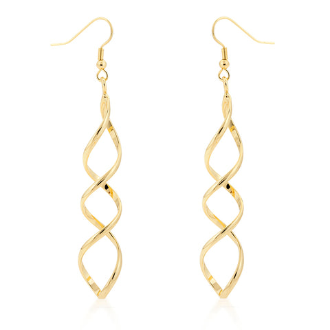 Casilda Gold Twist Dangle Earrings