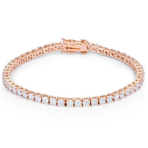 Cassidy Clear Round CZ Rose Gold Tennis Bracelet – 7in | 10ct