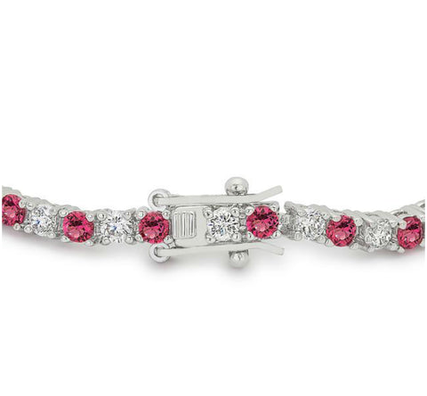 Cassidy Fuchsia and Clear Round  CZ Tennis Bracelet – 7in | 10ct