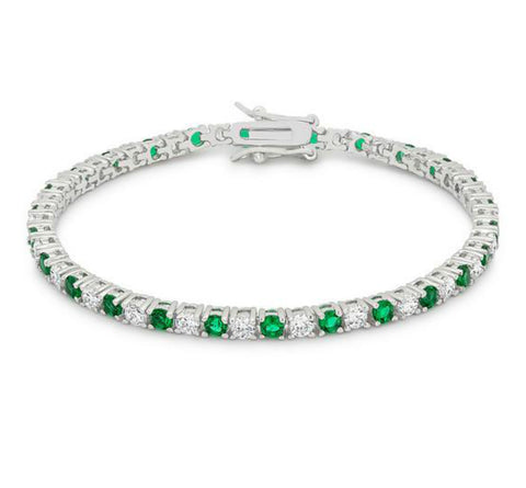 Cassidy Emerald and Clear Round  CZ Tennis Bracelet – 7in | 10ct