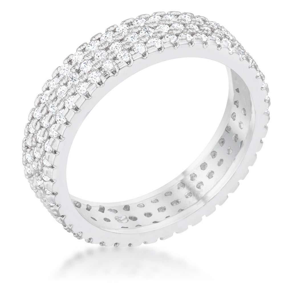 Chare CZ Cluster Eternity Silvertone Band Ring | 2ct