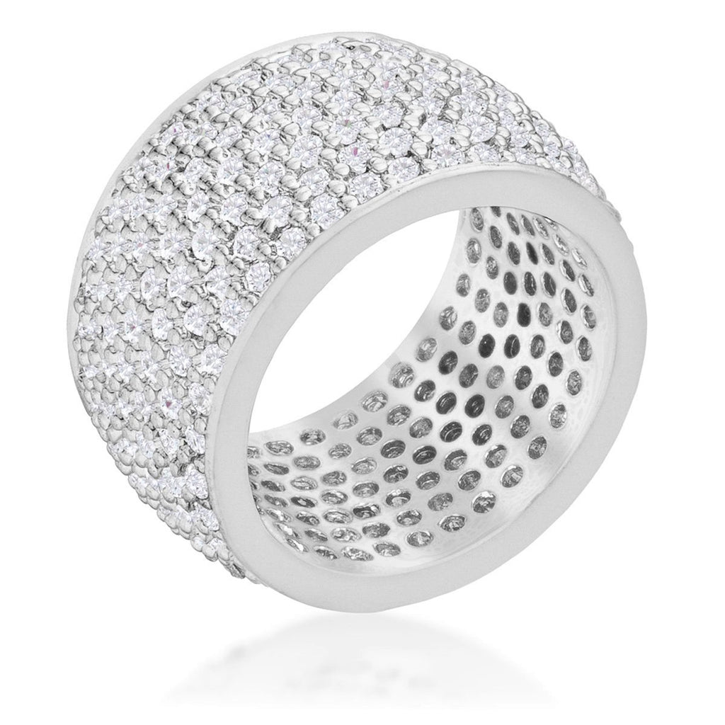 Cherish Wide Pave Cluster Silver Eternity Cocktail Ring | 13 Carat | Cubic Zirconia - Beloved Sparkles  - 1