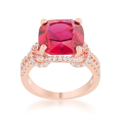 Charlene Ruby Red Rose Gold Classic Statement Cocktail Ring | 8ct | Cubic Zirconia - Beloved Sparkles  - 2