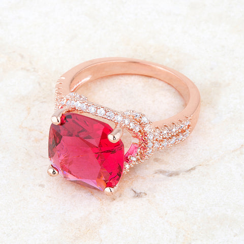 Charlene Ruby Red Rose Gold Classic Statement Cocktail Ring | 8ct | Cubic Zirconia - Beloved Sparkles  - 3