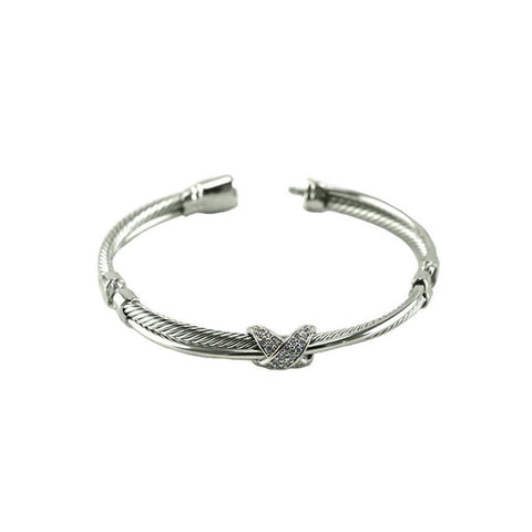 Charra CZ Knot Rope Textured Bangle Bracelet