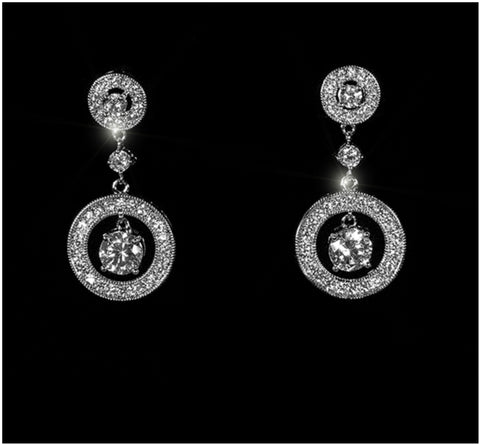 Cherie Circle Halo Dangle Earrings | 5ct | Cubic Zirconia | Silver