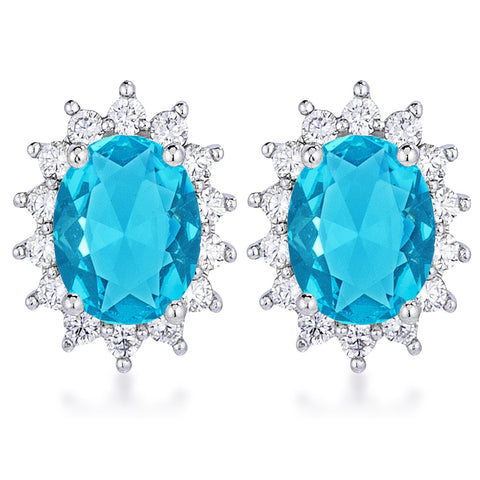 Chesna Oval Aqua Halo Earrings | 2ct