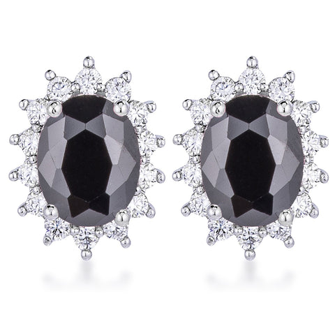 Chesna Oval Black Halo Earrings | 2ct