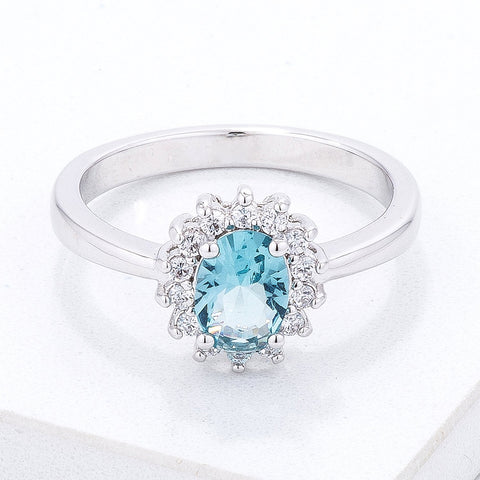 Chesna Oval Ice Blue Halo Ring | 2ct
