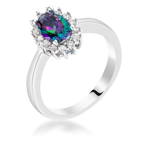 Chesna Mystic Blue Halo Ring | 2ct