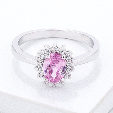 Chesna Oval Pink Halo Ring | 2ct