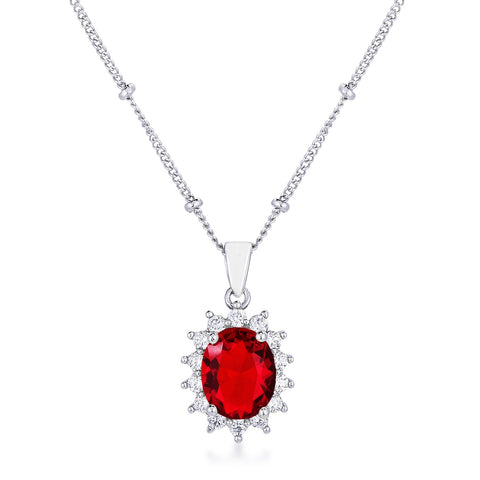 Chesna Oval Ruby  Halo Pendant
