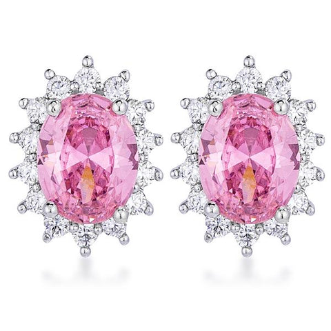 Chesna Oval Pink Halo Earrings | 2ct