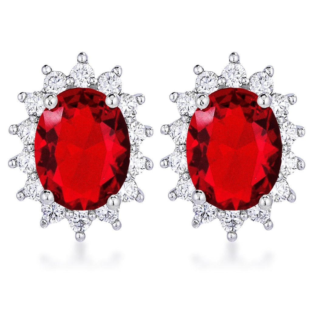 Chesna Oval Ruby Halo Earrings | 2ct