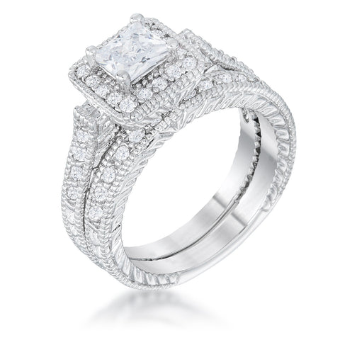 Chiara Princess Cut Halo Engagement and Wedding Ring Set | 2.2ct | Cubic Zirconia - Beloved Sparkles  - 1