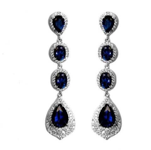 Chloey Sapphire Linear Chandelier Earrings