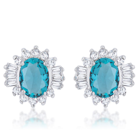 Chrisalee Vintage Aqua Cluster Stud Earrings