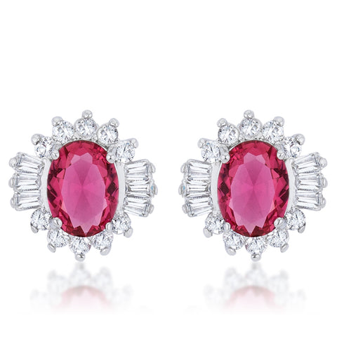 Chrisalee Vintage Inspired Ruby Cluster Stud Earrings
