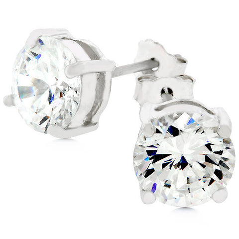 Christa Round Cut Stud Earrings – 7mm  | 2ct | Sterling Silver