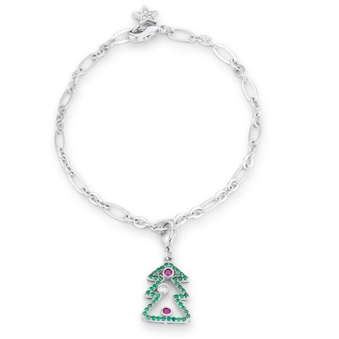 Chistmas Tree Charm Bracelet | 7.5in