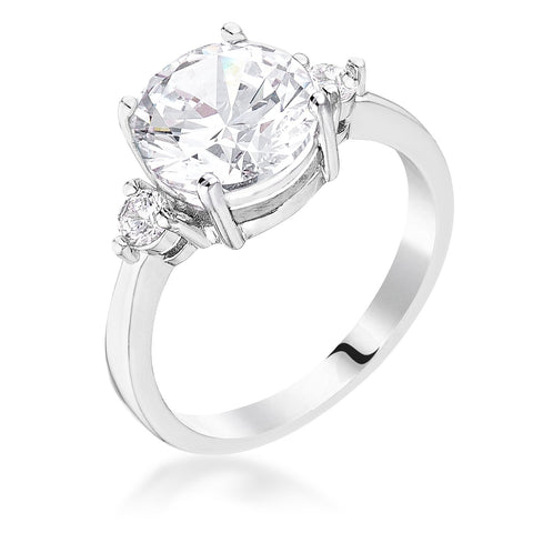 Abigail 3ct Round Three Stone CZ Engagement Ring | 5ct