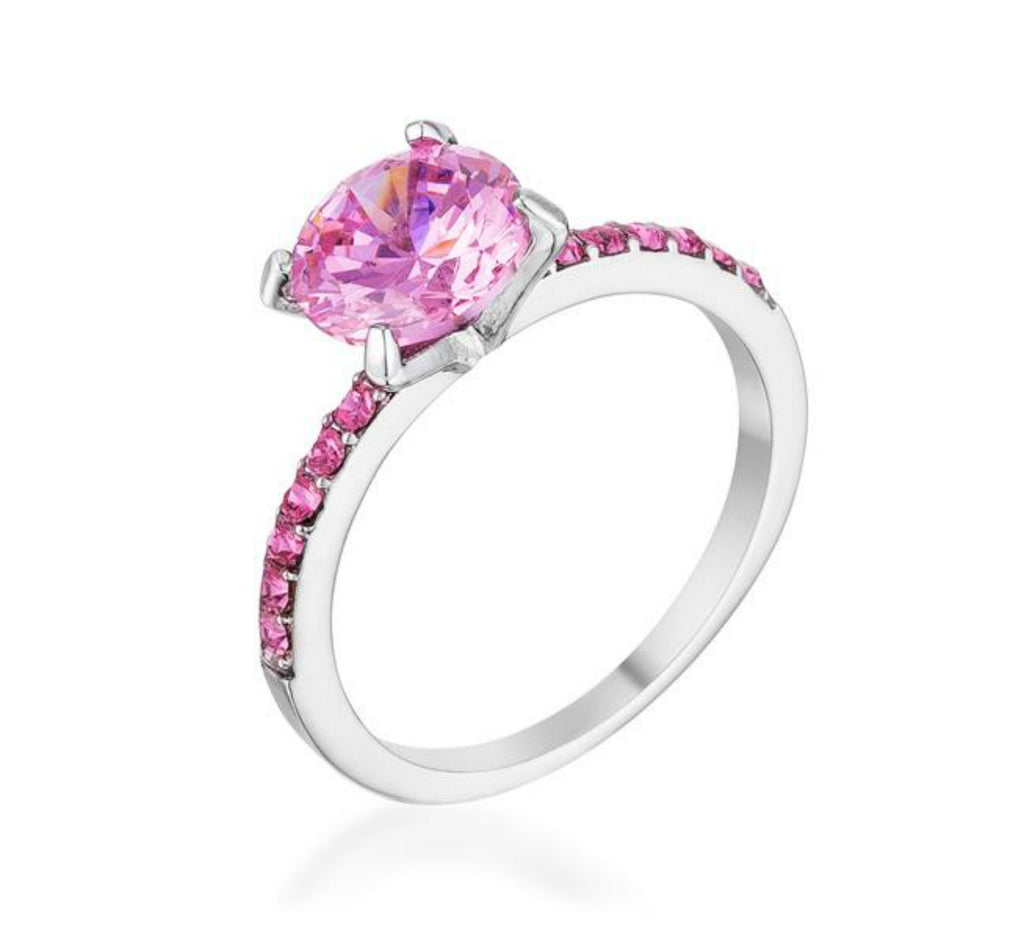 Cicelia Pink CZ Rhodium Cocktail Ring | 2.5ct | Silver