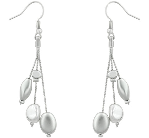 Cissy Silvertone Beaded Dangle Drop Earrings | Silver