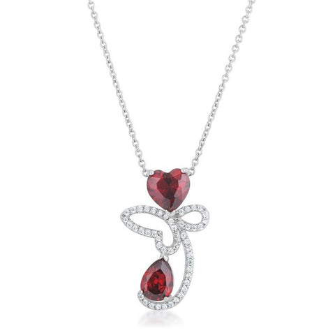 Clarise Garnet CZ Abstract Heart Pendant | 3ct