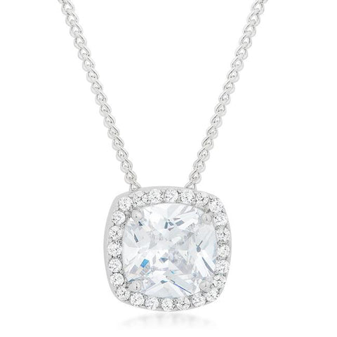 Clarissa Cushion Cut Halo CZ Pendant | 5.5ct