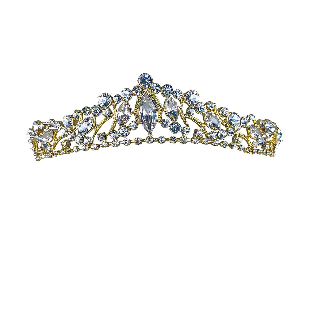 Claudia Marquise Crystal Gold Tiara