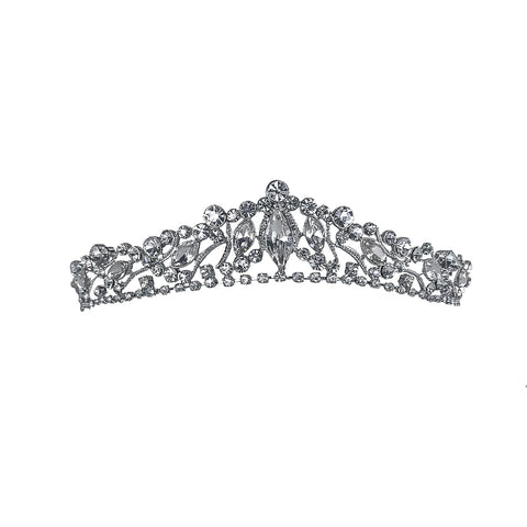 Claudia Marquise Crystal Silver Tiara