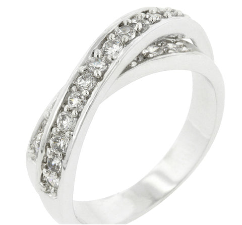 Cleva Double Cross Band Ring | 1ct | Cubic Zirconia | Silver