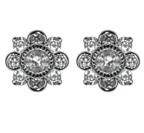 Clory Vintage Inspired Art Deco CZ Stud Earrings | Cubic Zirconia | Silver