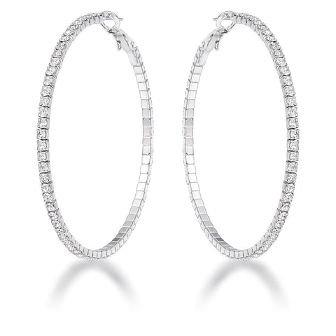 Clyotilde Silvertone Chain Eternity Hoop Earrings | 3.8ct