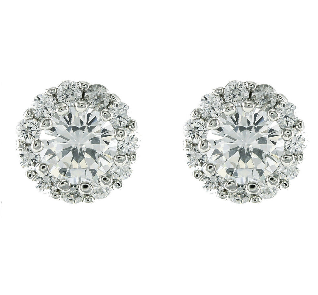 Colette Round Halo CZ  Stud Earrings