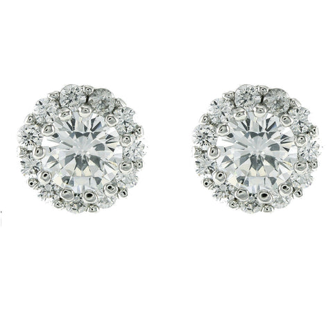 Colette Round Halo CZ  Stud Earrings | Cubic Zirconia | Silver