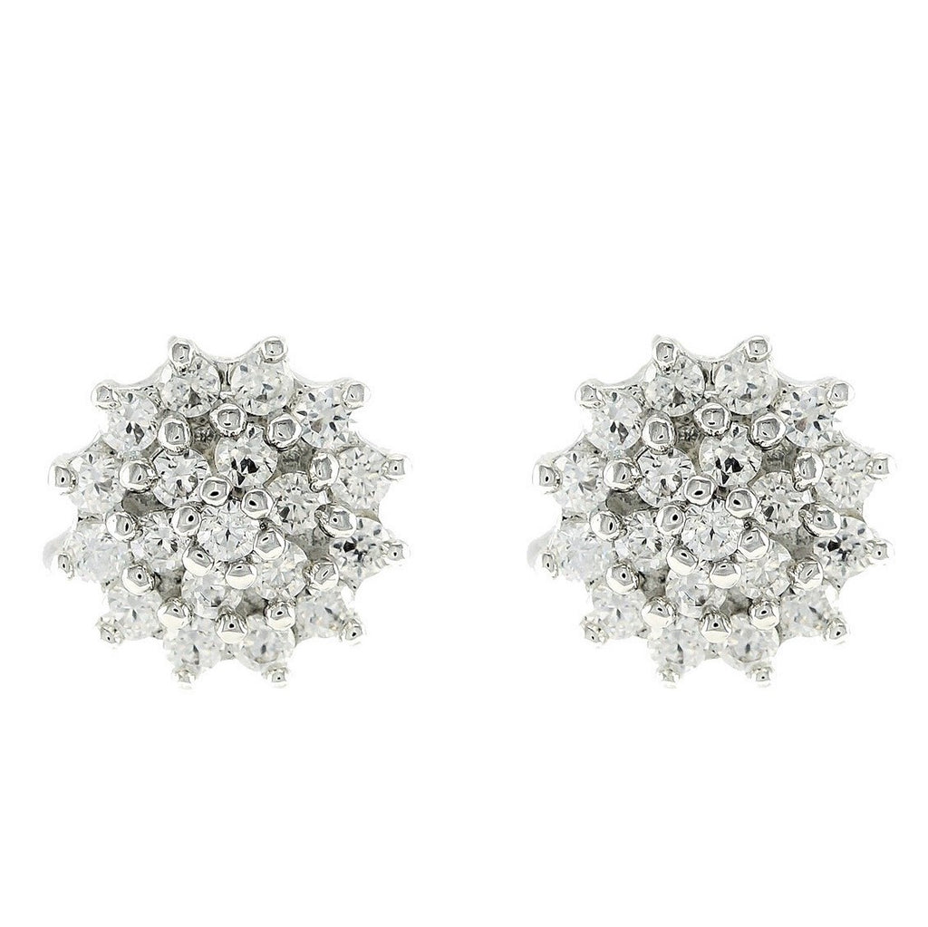 Coloma Round Cluster Stud Earrings | Cubic Zirconia | Silver