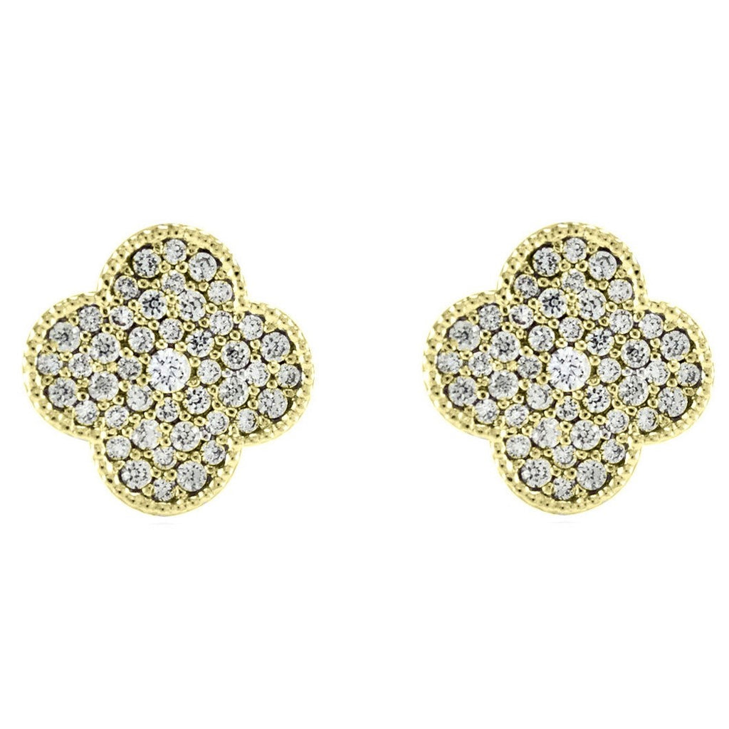 Connie Pave Clover Round Stud Earrings | Cubic Zirconia | Gold