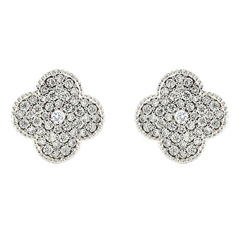 Connie Pave CZ Clover Silver Stud Earrings