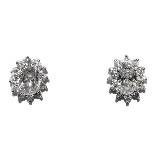 Covin Oval Halo CZ Stud Earrings