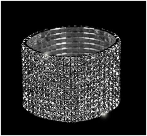 Nicky-1 10 Rows Rhinestone Stretch Bracelet