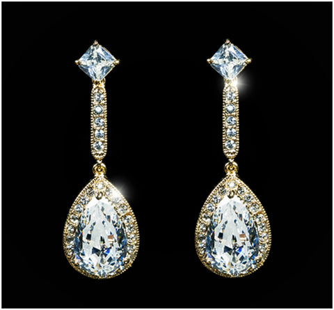 Loranne Tear Drop Dangle Gold Earrings | 7ct |Cubic Zirconia | Gold